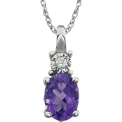 14kt White Gold .72 ct Amethyst and Diamond 18in Necklace