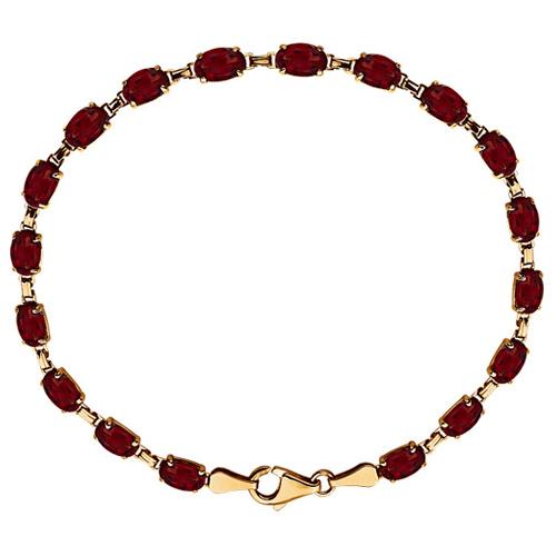 14k Yellow Gold 10.8 ct tw Garnet Line Bracelet 7.25in