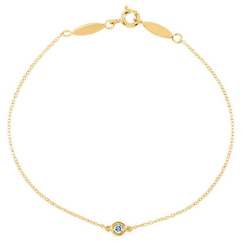 14k Yellow Gold .08 ct tw Diamond Bezel Link Bracelet