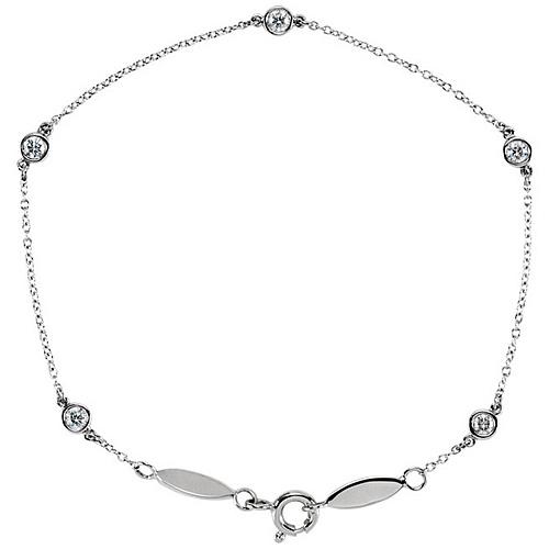 14kt White Gold 1/3 ct Diamond Bezel Five Station Bracelet