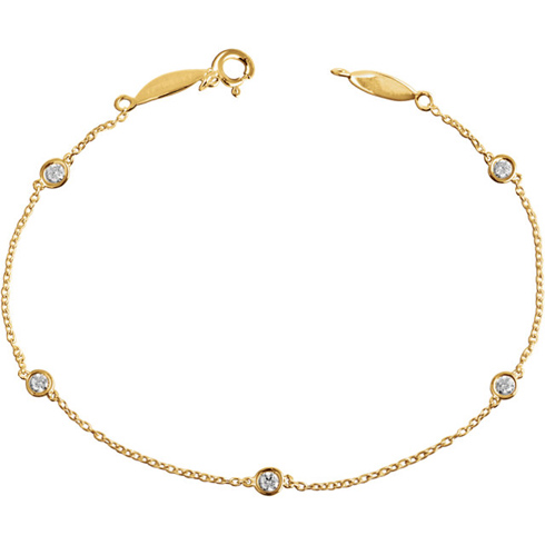 14kt Yellow Gold 1/3 ct Diamond Bezel Five Station Bracelet