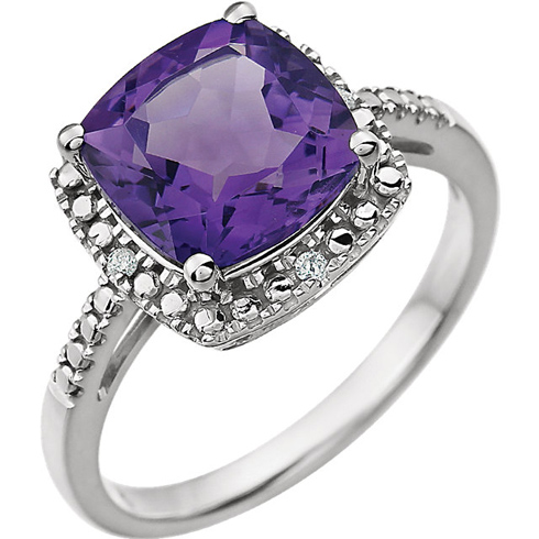 14kt White Gold 9mm Square Cushion Amethyst Ring with Diamonds