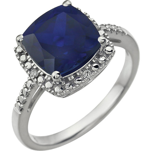 14kt White Gold 9mm Square Cushion Created Blue Sapphire Ring with Diamonds