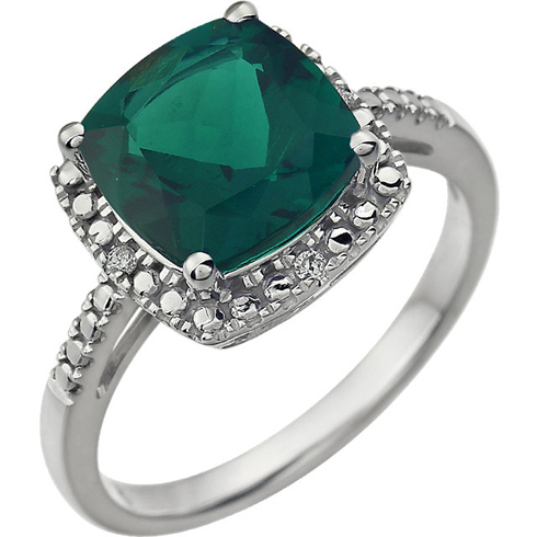 14kt White Gold 9mm Square Cushion Created Emerald Ring with Diamonds