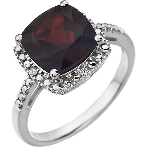 14kt White Gold 9mm Square Cushion Garnet Ring with Diamonds