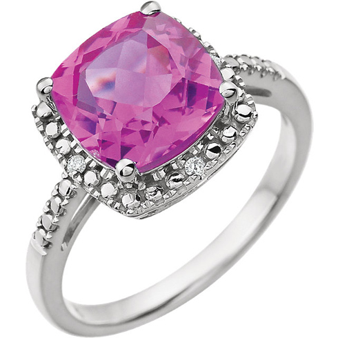 14kt White Gold 9mm Square Cushion Created Pink Sapphire Ring with Diamonds