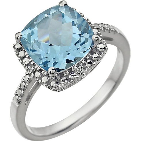 14kt White Gold 9mm Square Cushion Sky Blue Topaz Ring with Diamonds