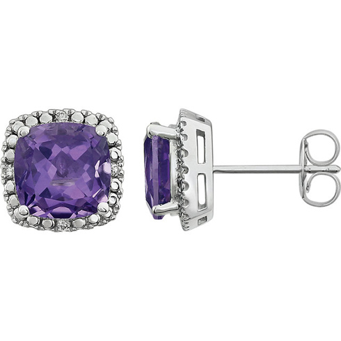 14kt White Gold 2.1 ct Amethyst and Diamond Halo Earrings