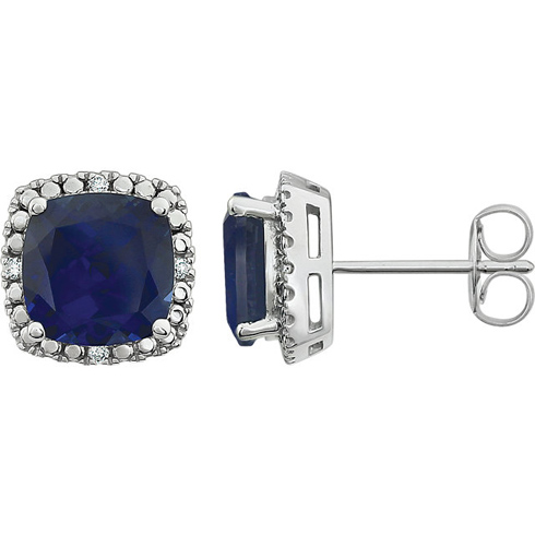 14kt White Gold 3 ct Created Blue Sapphire Diamond Halo Earrings