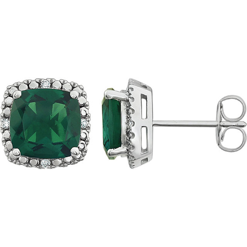 14kt White Gold 2 ct Created Emerald and Diamond Halo Earrings