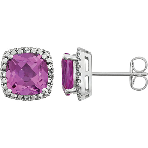 14kt White Gold 3 ct Created Pink Sapphire Diamond Halo Earrings