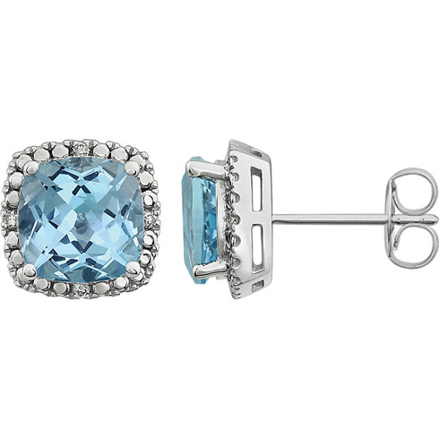 14kt White Gold 3 ct Sky Blue Topaz and Diamond Halo Earrings