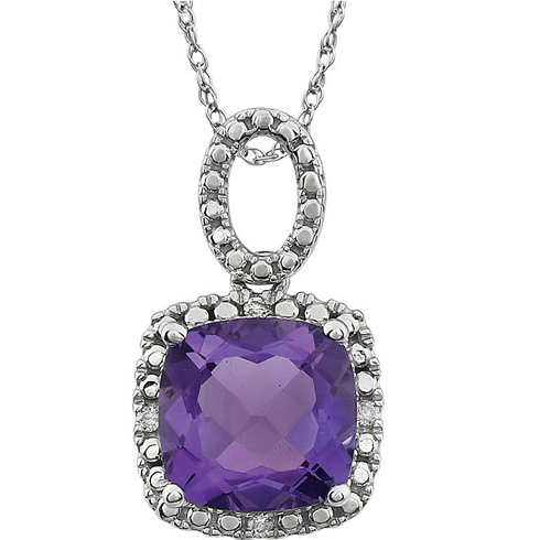14kt White Gold 2.8 ct Cushion Amethyst 18in Necklace with Diamond Accents