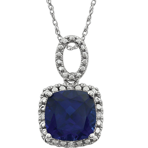 14kt White Gold 9mm Cushion Created Blue Sapphire 18in Necklace with Diamond Accents