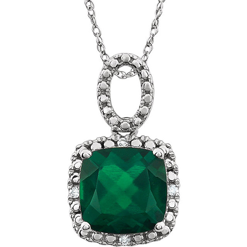 14kt White Gold 2.8 ct Cushion Created Emerald 18in Necklace with Diamond Accents