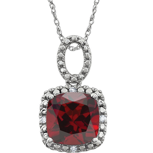 14kt White Gold 2.8 ct Cushion Cut Mozambique Garnet 18in Necklace with Diamond Accents