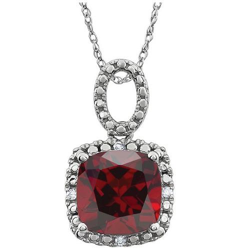 14k White Gold 2.8 ct Cushion Cut Mozambique Garnet Diamond Necklace