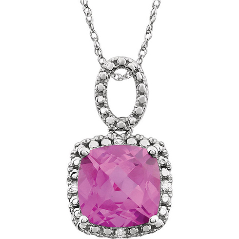 14kt White Gold 9mm Cushion Created Pink Sapphire 18in Necklace with Diamond Accents