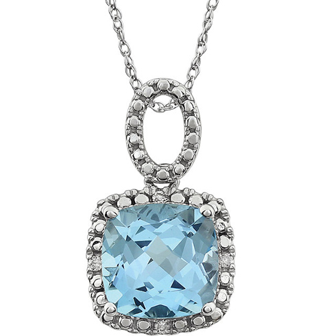 14k White Gold 9mm Cushion Cut Sky Blue Topaz Necklace with Diamonds