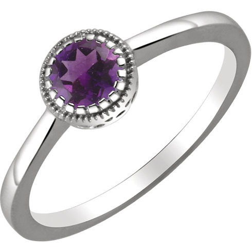 14kt White Gold 1/2 ct Amethyst Ring with Beaded Edge