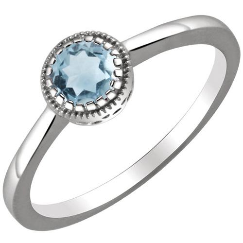14kt White Gold 1/2 ct Aquamarine Ring with Beaded Edge