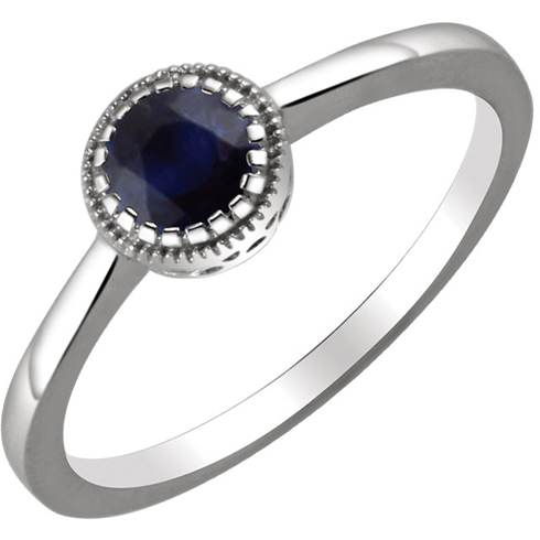 14kt White Gold 2/3 ct Blue Sapphire Ring with Beaded Edge