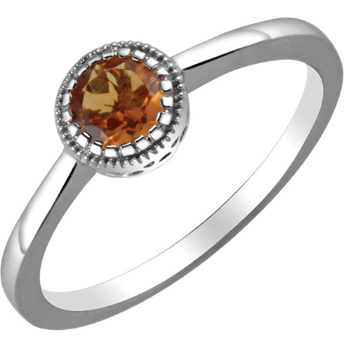 14kt White Gold 1/2 ct Citrine Ring with Beaded Edge