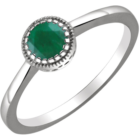 14kt White Gold 1/2 ct Emerald Ring with Beaded Edge