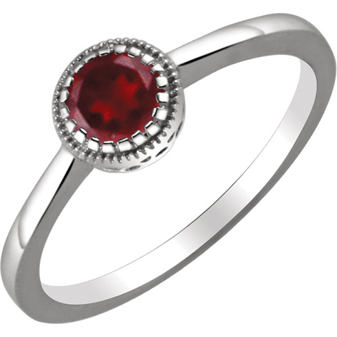 14kt White Gold 2/3 ct Garnet Ring with Beaded Edge