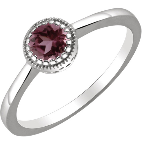 14kt White Gold 1/2 ct Pink Tourmaline Ring with Beaded Edge