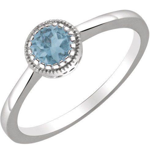 14kt White Gold 3/5 ct Swiss Blue Topaz Ring with Beaded Edge