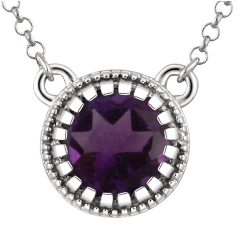 14kt White Gold .65 ct Amethyst 18in Necklace