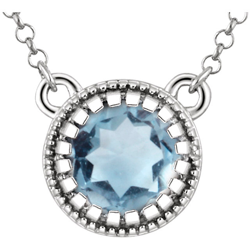 14kt White Gold .45 ct Aquamarine 18in Necklace