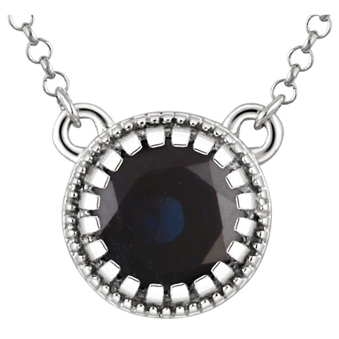 14kt White Gold 2/3 ct Blue Sapphire 18in Necklace