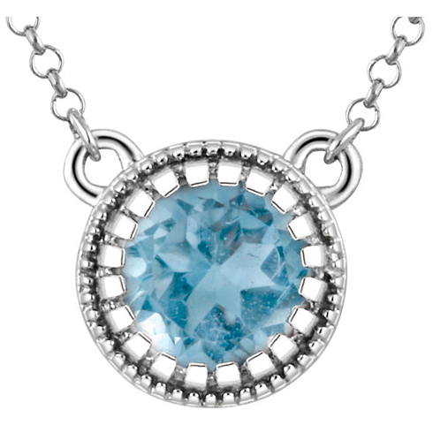 14kt White Gold 3/5 ct Swiss Blue Topaz 18in Necklace