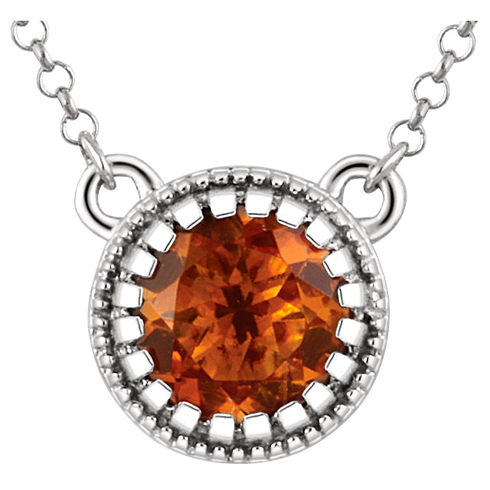 14kt White Gold 1/2 ct Citrine 18in Necklace