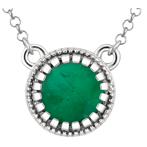 14kt White Gold 2/5 ct Emerald 18in Necklace