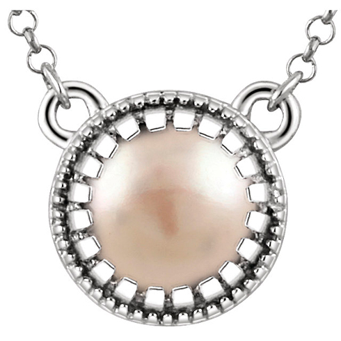 14kt White Gold 5mm Freshwater Pearl 18in Necklace