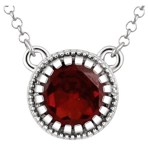14kt White Gold 2/3 ct Garnet 18in Necklace
