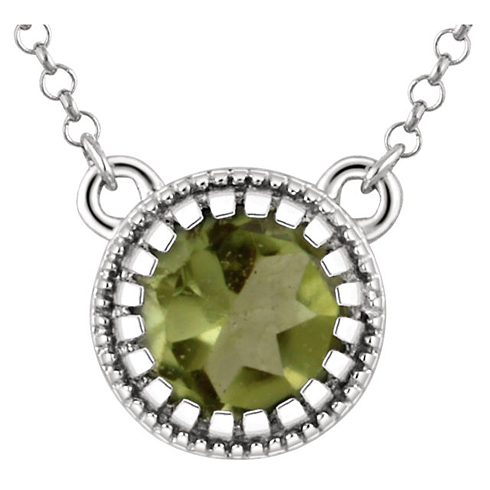 14kt White Gold 1/2 ct Peridot 18in Necklace