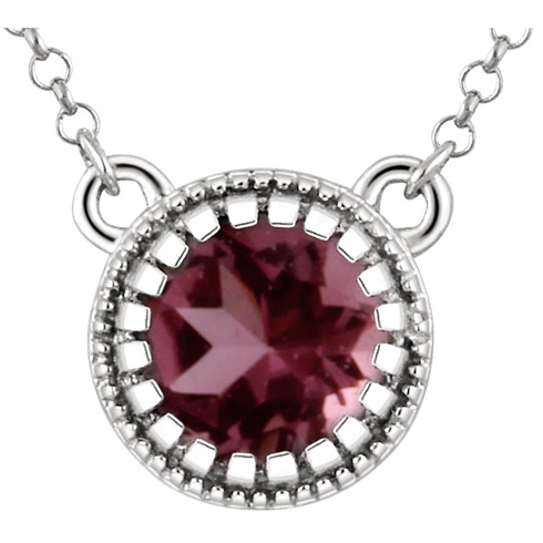 14kt White Gold 1/2 ct Pink Tourmaline 18in Necklace