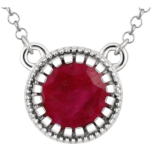 14kt White Gold 2/3 ct Ruby 18in Necklace