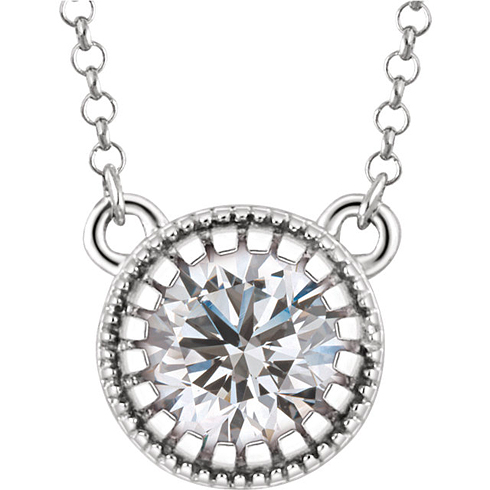 14kt White Gold 3/5 ct White Sapphire 18in Necklace