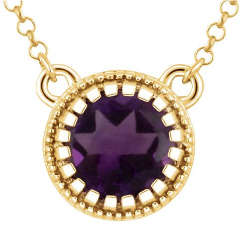 14kt Yellow Gold .65 ct Amethyst 18in Necklace