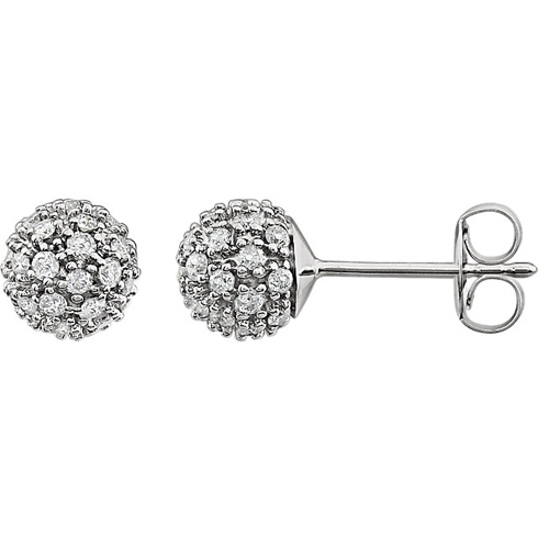 14kt White Gold 1/2 ct Diamond Cluster Earrings