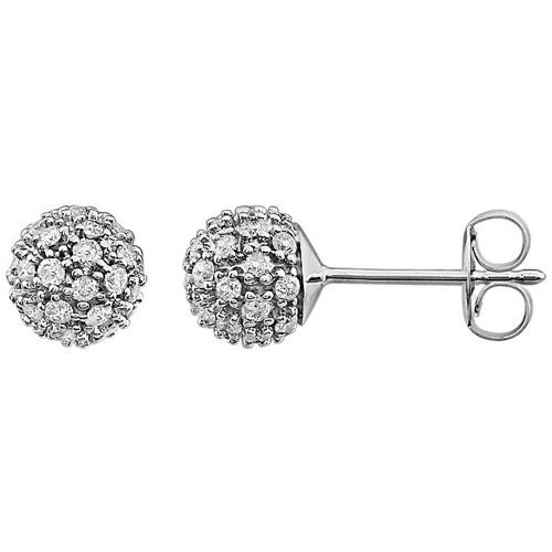 14kt White Gold 1/2 ct Diamond Cluster Earrings