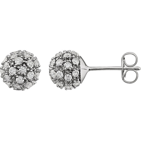 14kt White Gold 3/4 ct Diamond Cluster Earrings