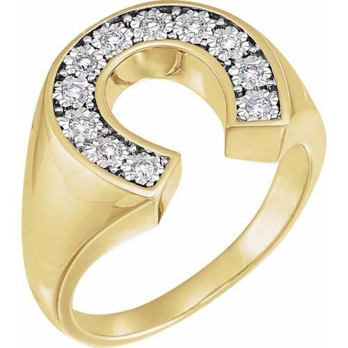 14k Yellow Gold Men's 1/4 ct tw Diamond Horseshoe Ring