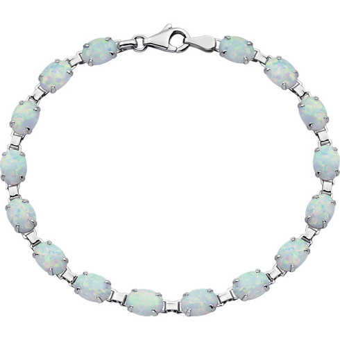 14kt White Gold 7 1/2in Created Opal Line Bracelet