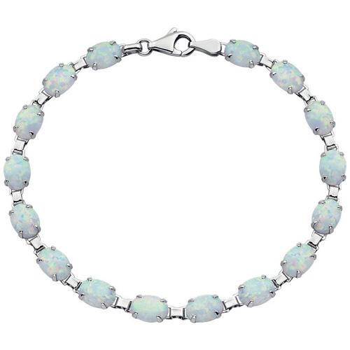 14kt White Gold 7 1/2in Created Opal Line Bracelet